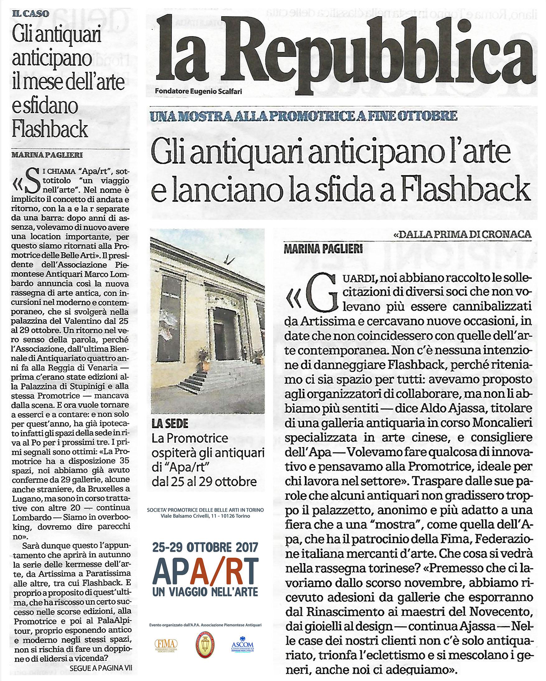 MOSTRA APA/RT TORINO FLASHBACK ANTIQUARI PIEMONTE